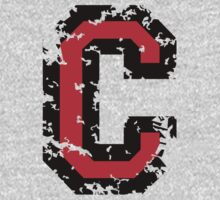 Letter C (Distressed) two-color black/red character by theshirtshops