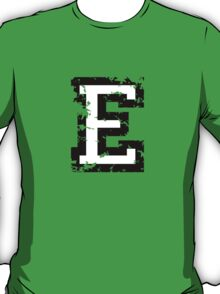Letter E (Distressed) two-color black/white character T-Shirt