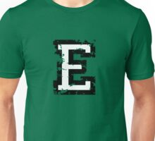 Letter E (Distressed) two-color black/white character Unisex T-Shirt