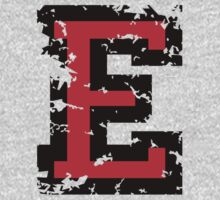Letter E (Distressed) two-color black/red character Kids Clothes