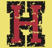 Letter H (Distressed) two-color black/red character Kids Tee