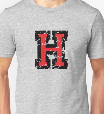 Letter H (Distressed) two-color black/red character Unisex T-Shirt