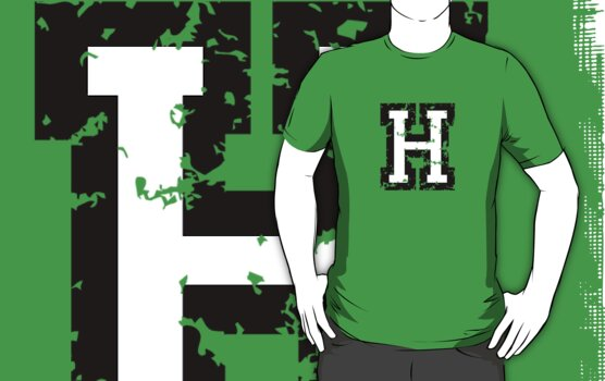 Letter H (Distressed) two-color black/white character by theshirtshops