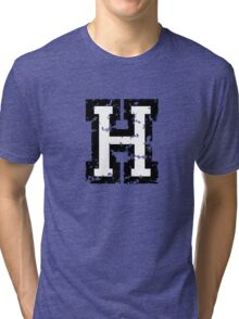 Letter H (Distressed) two-color black/white character Tri-blend T-Shirt
