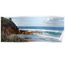 Panoramic ocean cliffs Poster