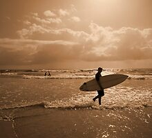 Early morning surfer at Manly Beach, Sydney by Jodie Johnson