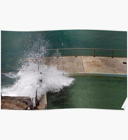 Terrifying waves crashing over pool edge Poster