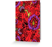 Flowers on Red Greeting Card