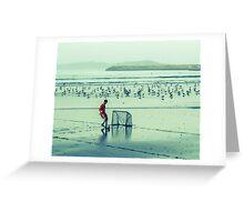 Football on the beach Greeting Card