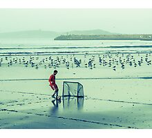 Football on the beach Photographic Print