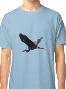 Great Blue Heron Flying Past the Clouds Above Trojan Pond Classic T-Shirt