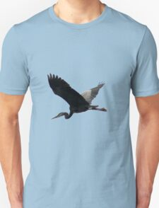 Great Blue Heron Flying Past the Clouds Above Trojan Pond T-Shirt