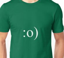 White Smiley Face with Nose (for Dark T-shirts) Unisex T-Shirt