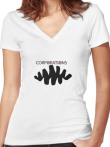 Corporate greed  Women's Fitted V-Neck T-Shirt