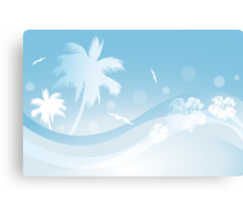 Tropical background in blue colors Canvas Print