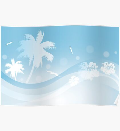 Tropical background in blue colors Poster