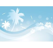 Tropical background in blue colors Photographic Print
