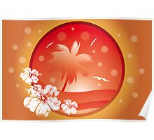 Tropical concept with palm and seagulls in various orange colors Poster