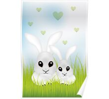 Adorable Easter rabbits in green grass Poster