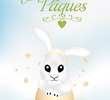 French Easter card with cute bunny in broken egg shell by schtroumpf2510
