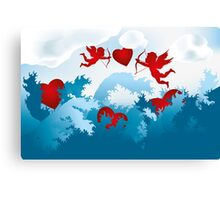 Sea of love - cupids on heart hunting Canvas Print