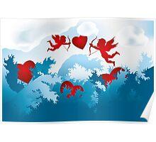 Sea of love - cupids on heart hunting Poster