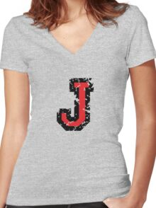 Letter J (Distressed) two-color black/red character Women's Fitted V-Neck T-Shirt