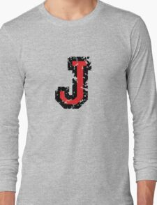 Letter J (Distressed) two-color black/red character Long Sleeve T-Shirt