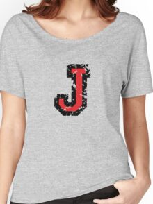 Letter J (Distressed) two-color black/red character Women's Relaxed Fit T-Shirt
