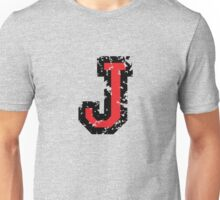 Letter J (Distressed) two-color black/red character Unisex T-Shirt