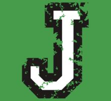 Letter J (Distressed) two-color black/white character Kids Clothes