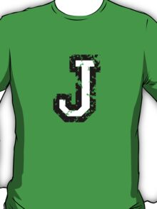 Letter J (Distressed) two-color black/white character T-Shirt