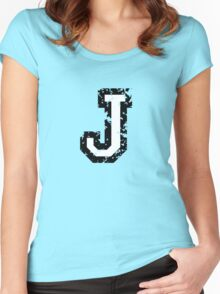 Letter J (Distressed) two-color black/white character Women's Fitted Scoop T-Shirt