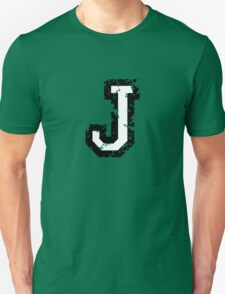 Letter J (Distressed) two-color black/white character Unisex T-Shirt