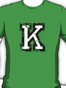Letter K (Distressed) two-color black/white character T-Shirt