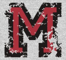Letter M (Distressed) two-color black/red character by theshirtshops
