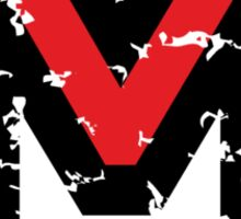 Letter M (Distressed) two-color black/red character Sticker