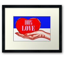100% LOVE Framed Print