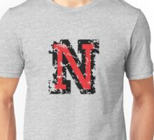 Letter N (Distressed) two-color black/red character Unisex T-Shirt