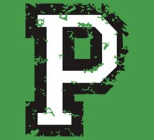Letter P (Distressed) two-color black/white character Kids Tee