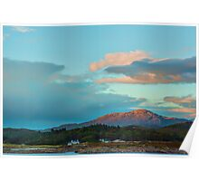 Landscape, Evening light over, Traigh house and Carn a Ghobhair Poster