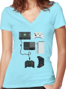 Pixel History - Xbox Women's Fitted V-Neck T-Shirt