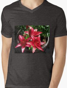 Reddish-Pink Lilies and Buds with Raindrops Mens V-Neck T-Shirt