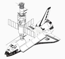 Space Shuttle and Salyut SS Docked by mcingwe