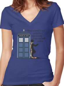 Hitch-hiking Doctor Women's Fitted V-Neck T-Shirt