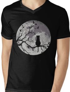 The Cat And The Moon Mens V-Neck T-Shirt