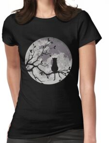 The Cat And The Moon Womens Fitted T-Shirt