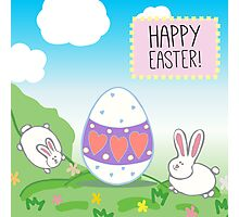 illustration or a postcard with bunnies and decorative egg.  Congratulations with Easter.  Blue sky, animals on the meadow  Photographic Print