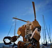 Winter-mech with blue sky by bricksailboat