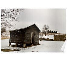 Wintry Shed Out In The Country Poster